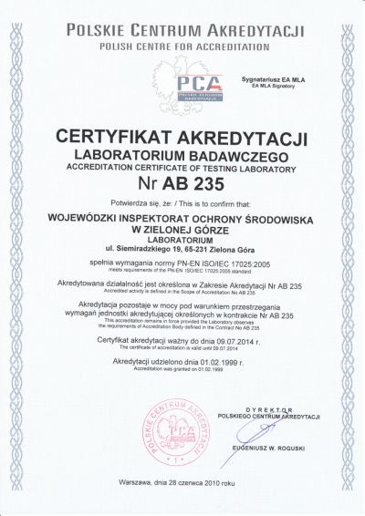 certyfikat AB 235