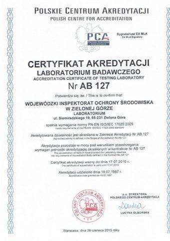 Certyfikat akredytacji AB 127