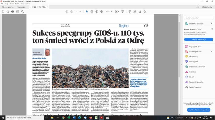 zdjęcie artykułu Gazety Lubuskiej z 28.07.2021 r. dot. nielegalnych odpadów, widoczna hałda odpadów