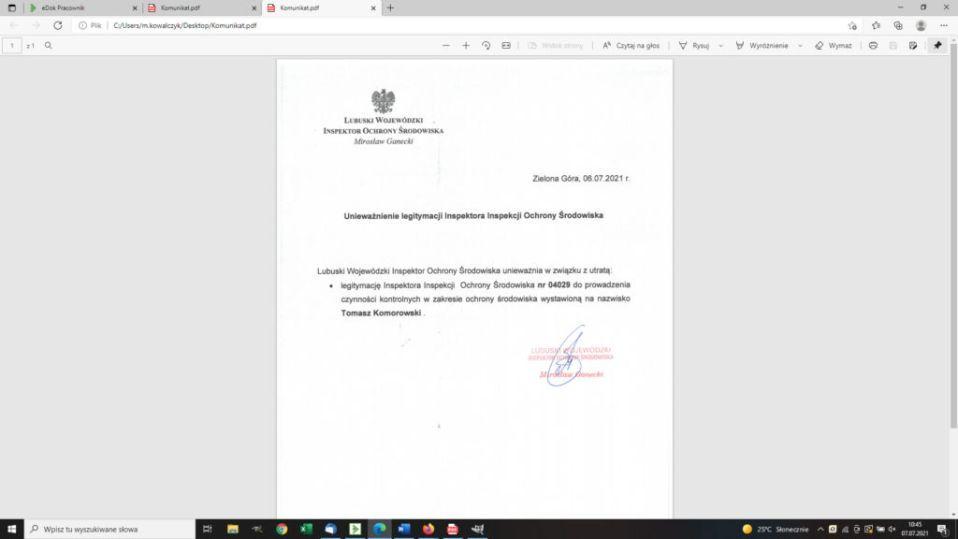 Komunikat unieważniający legitymację inspektora Inspekcji Ochrony Środowiska nr 04029 na nazwisko Tomasz Komorowski w związku z utratą dokumentu