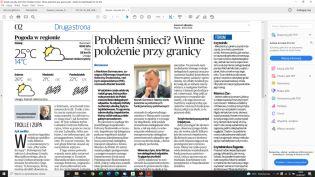 Strona Gazety Lubuskiej z artykułem o nielegalnym transporcie odpadów na teren Polski, na zdjęciu urzędnik na tle okna, ubrany w ciemny garnitur i krawat
